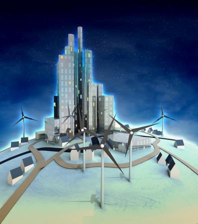 powered: windmills powered futuristic city at night illustration