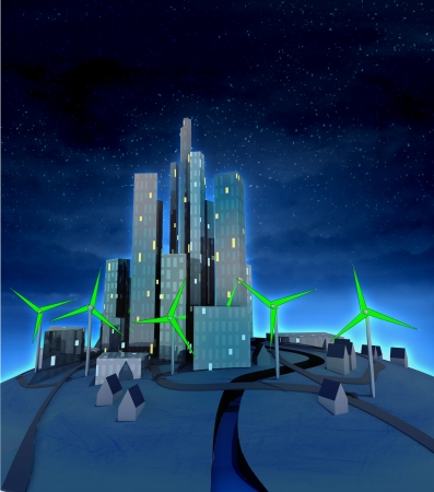 green windmills powered modern city at night illustration illustration
