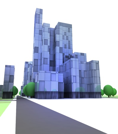 blue glass city with office building on white illustration illustration