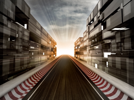 racetrack in evening light bussiness city illustration