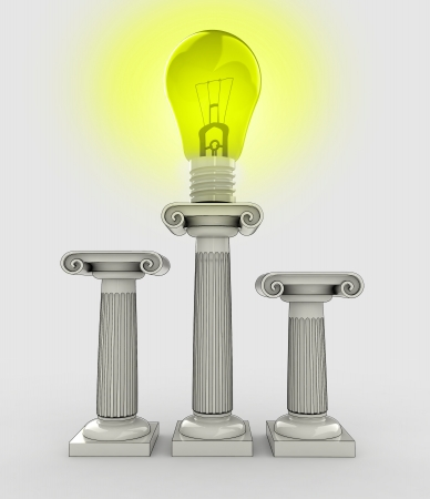 yellow shiny lightbulb on top of the greek column illustration illustration