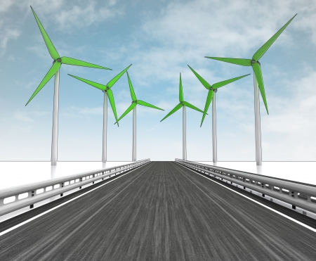 windmill turbine field around motorway with sky illustration illustration