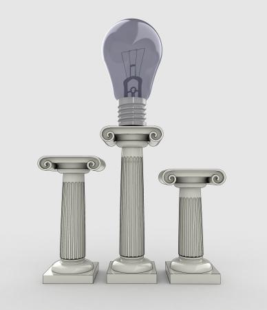 lightbulb situated on top of the greek column illustration illustration
