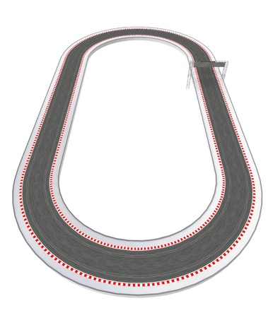 formula one: classical oval racetrack design in bird view illustration Stock Photo