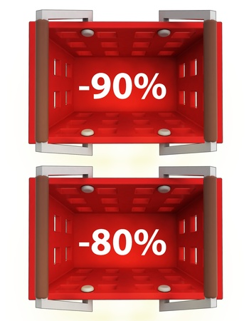 top view on red shopping basket with discount 90%, 80% illustration Stock Illustration - 21015393