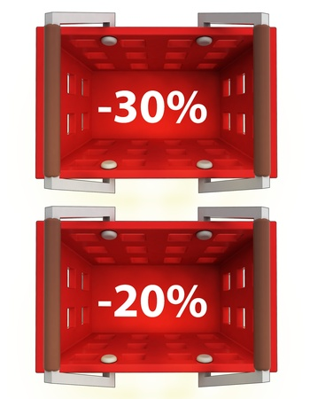 top view on red shopping basket with discount 30%, 20%  illustration Stock Illustration - 21015394