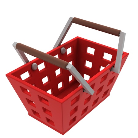 isolated red shopping basket upper view illustration Stock Illustration - 21015396