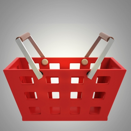 red shopping basket side view on grey illustration Stock Illustration - 21015398