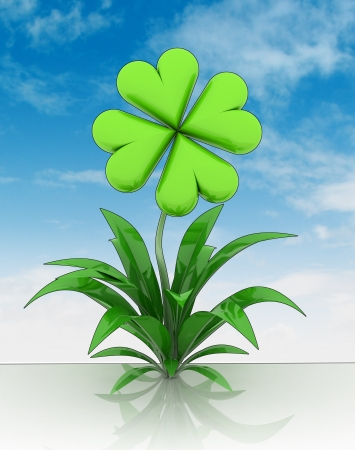 flower with cloverleaf blossom with sky illustration Stock Illustration - 21015400