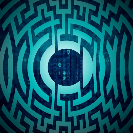 blue labyrinth circle structure on tech backdrop illustration illustration