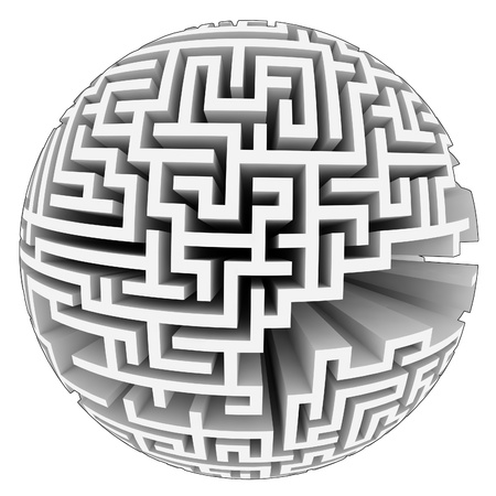 isolated grey labyrinth sphere structure illustration illustration
