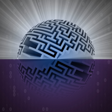 water reflection: half labyrinth sphere with water reflection illustration Stock Photo