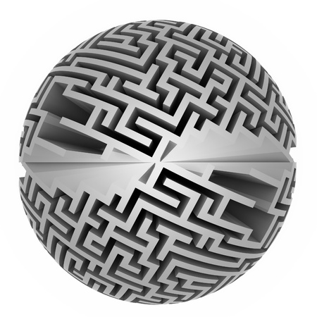 isolated grey labyrinth sphere symmetry illustration Stock Photo