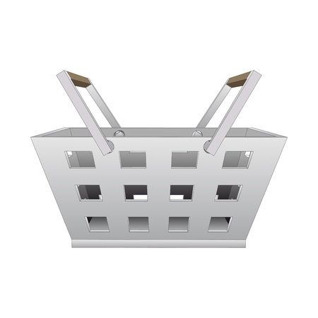 profusion: isolated steel hand basket vector drawing illustration