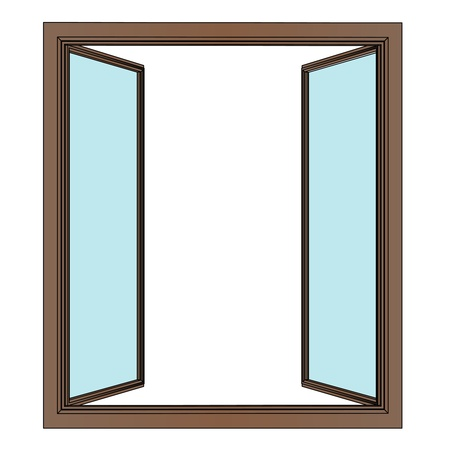 opened window to interier vector drawing illustration Vector