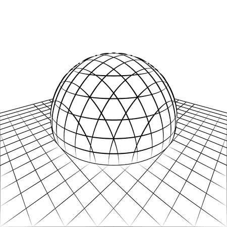 orthogonal: half sphere in grid line perspective drawing illustration