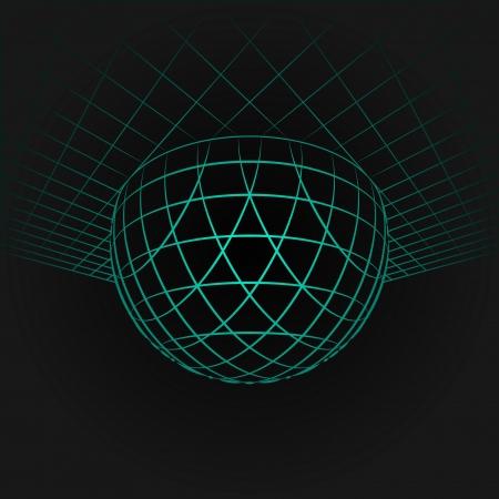 orthogonal: blue half sphere in grid on black background illustration Illustration