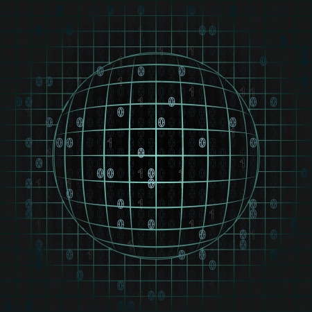 orthogonal: blue sphere in grid with binary code background illustration