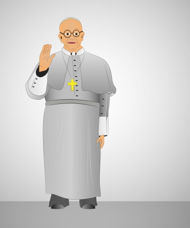 first pope from argentina blessing to christians illustration Vector