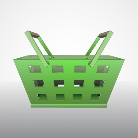 profusion: green hand basket vector drawing illustration