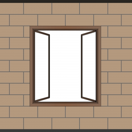 opened window frame in brick facade vector illustration Vector