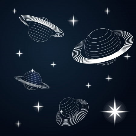 several saturn planets in outer space vector illustration Vector