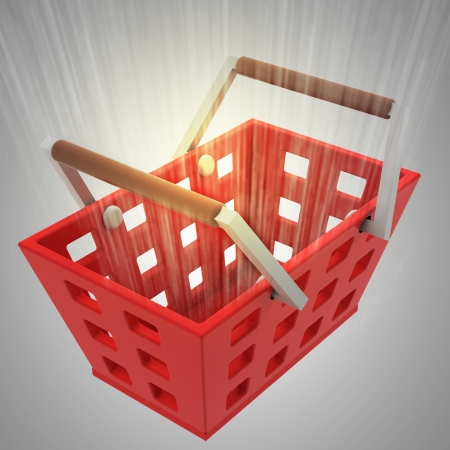 view on red shopping basket with yellow flare illustration Stock Illustration - 21106872