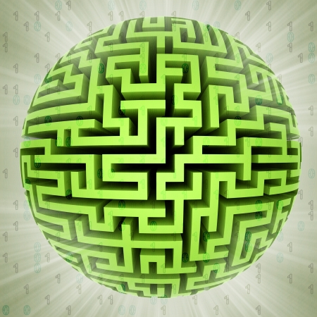 green maze sphere planet with binary code background illustration illustration