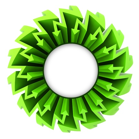 blank center: green arrow zigzag circle with blank center illustration