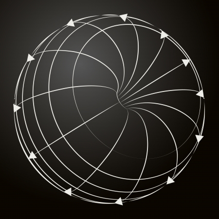 circulate: black and white sphere sketch with arrows vector illustration