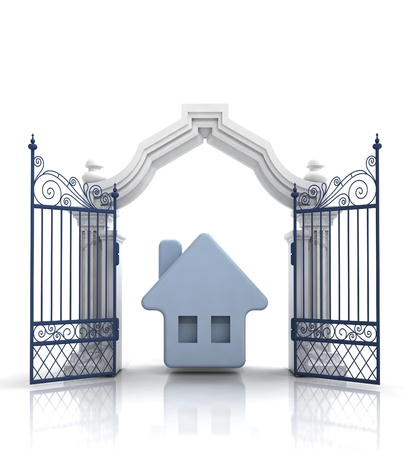 baroque gate: open baroque gate with blue house illustration Stock Photo