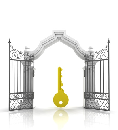 baroque gate: open baroque gate with golden key illustration