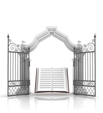 baroque gate: open baroque gate with holy bible illustration