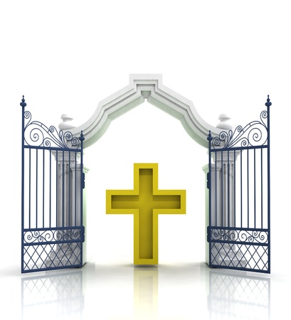 baroque gate: open baroque gate with golden cross illustration