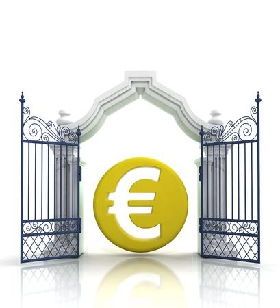 baroque gate: open baroque gate with euro coin illustration Stock Photo