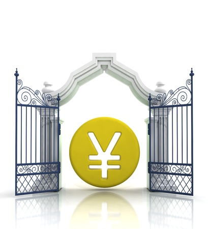 place of worship: open gate with yen or yuan coin illustration