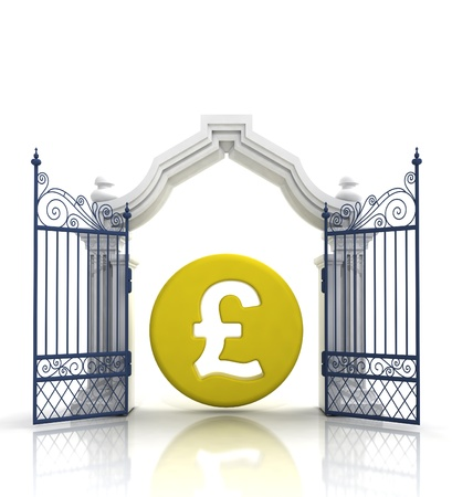 baroque gate: open baroque gate with pound coin illustration Stock Photo