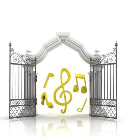baroque gate: open baroque gate with music sounds illustration Stock Photo
