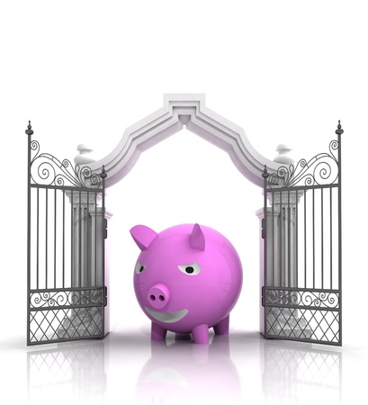 baroque gate: open baroque gate with pig illustration Stock Photo