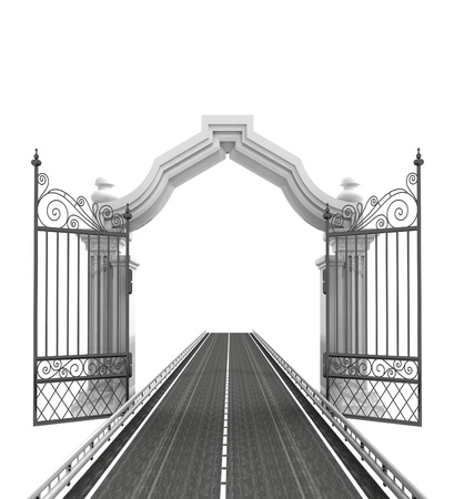 tracks live: open baroque gate with highway illustration