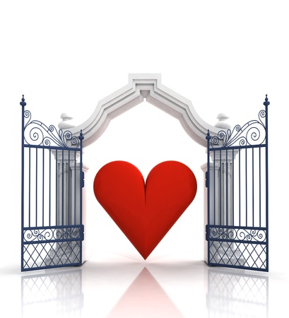 baroque gate: open baroque gate with heart illustration