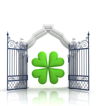 felicity: open baroque gate with cloverleaf illustration