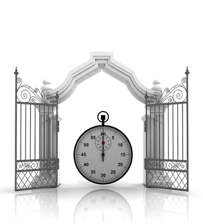 baroque gate: open baroque gate with stopwatch illustration