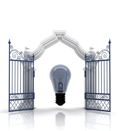 place of worship: open baroque gate with bulb illustration Stock Photo