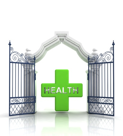 baroque gate: open baroque gate with health cross illustration