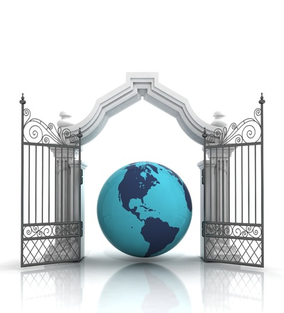 baroque gate: open baroque gate with asia on globe illustration