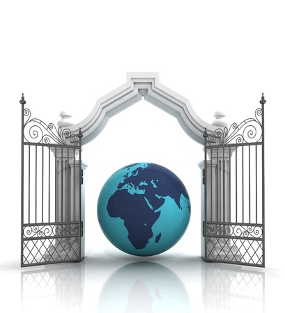 place of worship: open baroque gate with africa on globe illustration