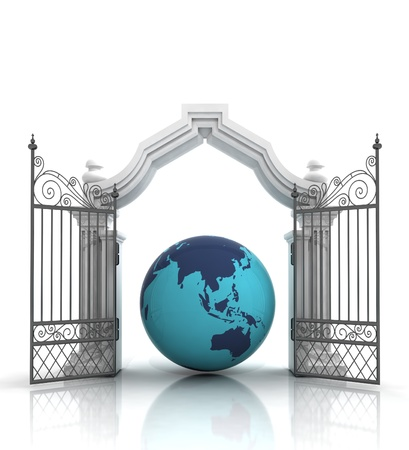 baroque gate: open baroque gate with america on globe illustration