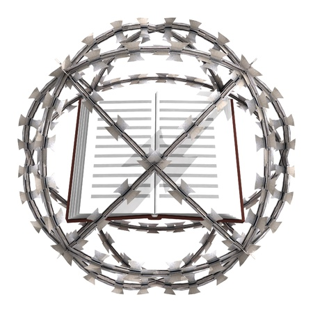 isolated education book in barbed wire sphere illustration Stock Illustration - 21106936
