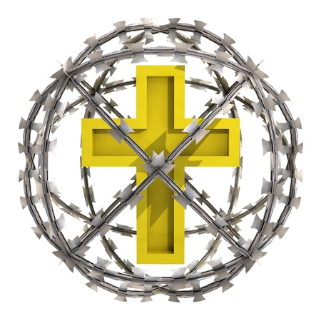 isolated golden cross in barbed wire sphere illustration illustration